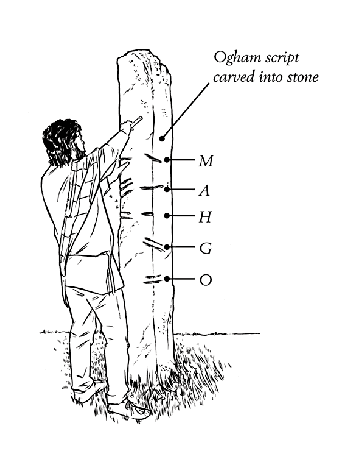 Image: An illustration of an early medieval man (AD 400 to AD 1150) carving Ogham script into a standing stone. Ogham script was written using combinations of straight lines on a vertical axis and is the earliest known form of writing in Ireland. © copyright David McClelland 2016. All rights reserved